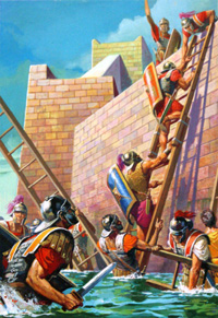 20% OFF ALL MILITARY ART:  Scipio Scales the Walls of Carthago Nova (Original) by Severino Baraldi