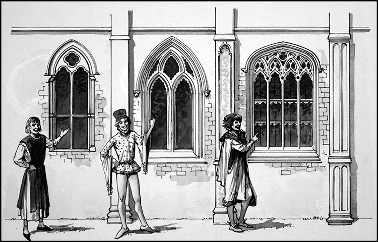 Three Types Of English Gothic Architecture Original By Ralph Bruce At The Illustration Art