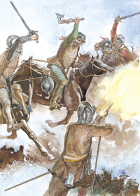 Osprey Men At Arms book illustration Border Reiver 1513-1603 art by Gerry Embleton