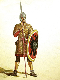 Osprey Men At Arms book illustration Late Roman Infantryman 236-565 AD art by Gerry Embleton