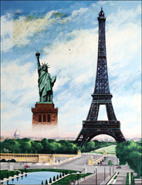 Eiffel Tower and Statue of Liberty art by Henry Fox