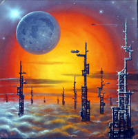 SkyTowers Album Cover Art art by David A Hardy