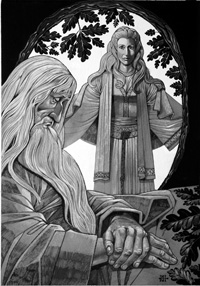 Merlin and the Lady of the Lake art by Richard Hook