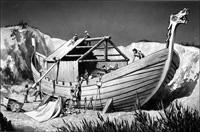 Anglo-Saxon Boat Builders art by Frank Marsden Lea