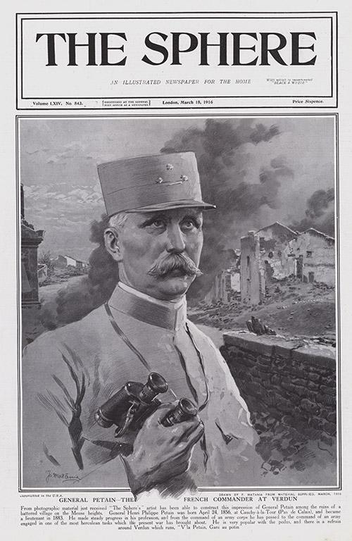 General Petain The French Commander At Verdun 1916 Original Cover