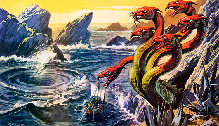 Scylla Attacking Odysseus S Ship By Roger Payne At The