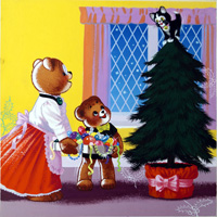 Teddy Bear - Christmas Tree art by William Francis Phillipps
