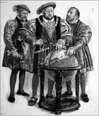 King Henry VIII and the Route to Russia art by Clive Uptton
