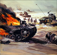 Tank Advance North Africa art by Gerry Wood