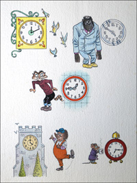 What Time Is It (TWO pages) art by Peter Woolcock
