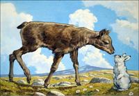 Gazelle Calf and Rabbit art by 20th Century unidentified artist