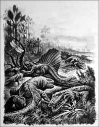 Reptiles in a Carboniferous Swamp art by 20th Century unidentified artist