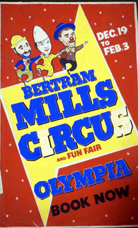 Bertram Mills Circus original poster artwork art by 20th Century unidentified artist