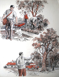 Gardening In The Park art by 20th Century unidentified artist