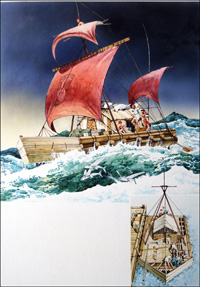 Thor Heyerdahl and Kon-Tiki art by 20th Century unidentified artist