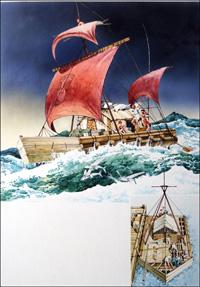 Thor Heyerdahl and Kon-Tiki art by 20th Century unidentified artist