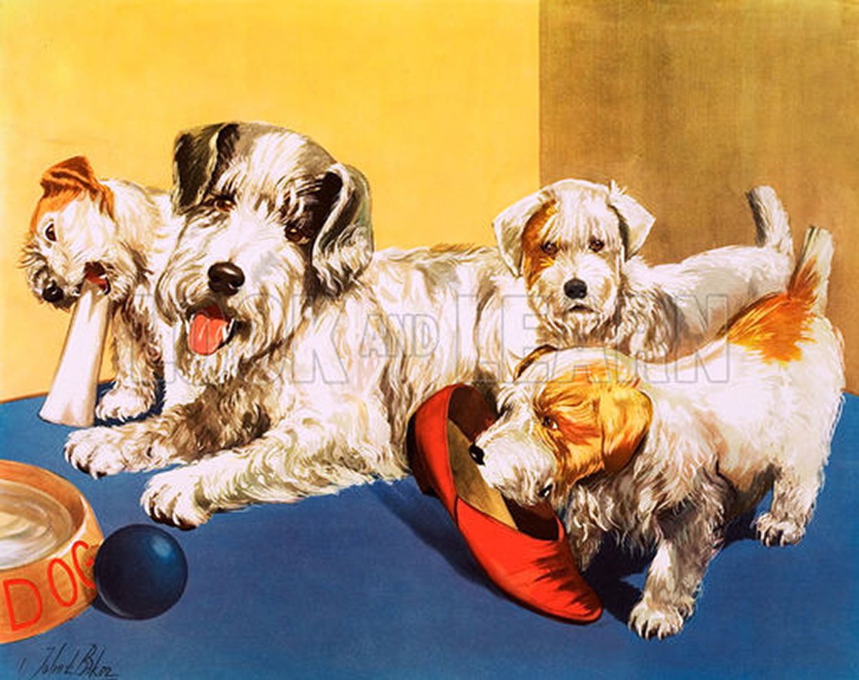 A Dog and her Puppies (Original Macmillan Poster) (Print) by