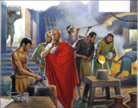 Making Glass in Roman Times art by Severino Baraldi