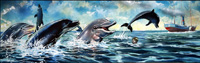 The Water Babies - Swimming with Dolphins art by Jesus Blasco