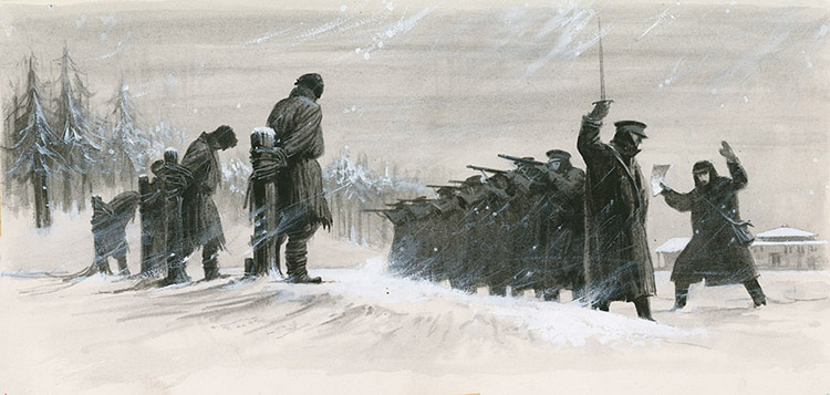 A last minute reprieve saved Fyodor Dostoevsky from the firing squad by  Ralph Bruce at the Illustration Art Gallery