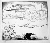 Political cartoon of Harold Macmillan by Neville Colvin
