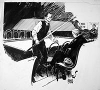 Tom Reece, Billiard Champion art by Neville Colvin