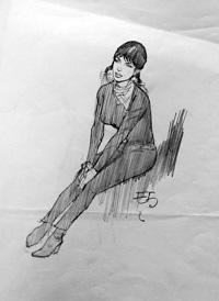 Modesty Blaise sketch 4 art by Neville Colvin