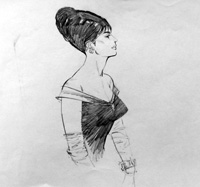 Modesty Blaise sketch 5 art by Neville Colvin