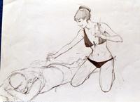 Modesty Blaise sketch 6 art by Neville Colvin