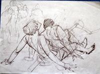 Modesty Blaise sketch 8 art by Neville Colvin