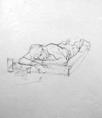 Modesty Blaise sketch 19 by Neville Colvin