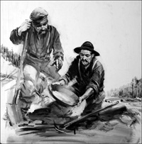 Robert Henderson at Rabbit Creek in the Yukon panning for gold art by Graham Coton