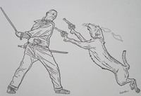 Shaolin Cowboy vs Smoking Dog art by Geof Darrow