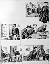 The Fifth Form at St. Dominic's - Exam (TWO pages) art by Cecil Doughty