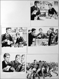 The Fifth Form at St. Dominic's - Rugger (TWO pages) art by Cecil Doughty