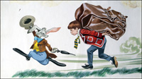 School Boy vs Hare (TWO pieces of art) art by Ron Embleton