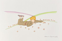 The Little Prince lying on the grass by Antoine de Saint Exupery