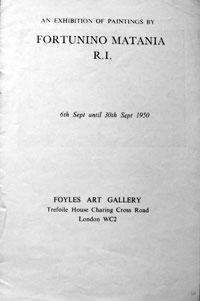 Foyles Art Gallery 1950  Catalogue of Matania Exhibition September 1950