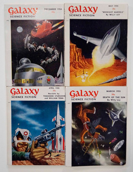 Galaxy Science Fiction – 4 early issues December 1954, March 1955, April 1955 and May 1955 by Robert Sheckley, Roger Dee, Evelyn E. Smith, Clifford D. Simak, Damon Knight, Charles V. De Vet, Theodore Sturgeon, Frederik Pohl, Robert Arthur et al