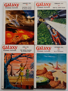 Galaxy Science Fiction – 4 early issues January, February, April and October 1954 by Damon Knight, Kurt Vonnegut Jr, James Blish, Frederic Brown, Arthur Sellings, Groff Conklin, Robert Sheckley, Frederik Pohl, Philip K. Dick, et al