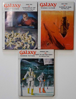 Galaxy Science Fiction – 3 consecutive Issues June 1954, July 1954 and August 1954 by Jefferson Highe, Clifford D. Simak, Robert Sheckley, Arthur Sellings, F. L. Wallace, Jay Clark, William Tenn and Frederik Pohl, et al