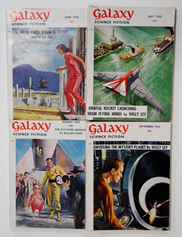 Galaxy Science Fiction – 4 consecutive Issues June 1955, July 1955, August 1955 and September 1955 by Evelyn E. Smith, Robert Sheckley, William Morrison, Frederik Pohl, L. Sprague de Camp, Alan Cogan, Robert Zacks, James E. Gunn, Manly Banister, et al