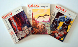 Galaxy Science Fiction – 3 consecutive Issues October 1956, November 1956 and December 1956 by Alfred Bester, Clifford D. Simak, Lester del Rey, E.C. Tub, Willey Ley, Robert Sheckley, Harry Warner Jr, William Tubb, et al