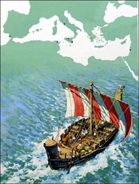 Carthage and Trading in the Mediterranean Sea art by Harry Green