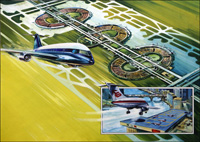 Airports Then - Now and in the Future art by Wilf Hardy