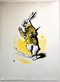 The White Rabbit looking at his watch, in yellow art by John Tenniel