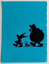 Asterix, Obelix and Dogmatix in silhouette (on light blue) art by Albert Uderzo