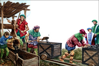 Coal Mining in Tudor Times art by Peter Jackson