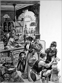 Shopping in Edwardian times art by Peter Jackson