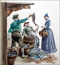 Fish Sellers of Tudor Times art by Peter Jackson